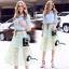 เสื้อผ้าเกาหลี พร้อมส่งAzura Skyblue Shirt + Embroidered Luxury Skirt thumbnail 2
