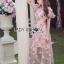 ชุดเดรสเกาหลี พร้อมส่งเดรสผ้าทูลเลปักดอกไม้กุหลาบสีชมพูทับลูกไม้สีชมพู thumbnail 3