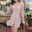 เสื้อผ้าเกาหลี พร้อมส่งShiny Lady PinkGold Leaf Lace Playsuit thumbnail 8
