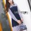 เสื้อผ้าเกาหลี พร้อมส่งเชิ้ตเดรสผ้าป็อบลินคอตตอนลายทางตกแต่งลูกไม้สีน้ำเงิน thumbnail 5