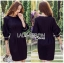 Tanna Crystal Embellished Draped Black Dress thumbnail 2