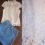 เสื้อผ้าเกาหลี พร้อมส่ง เซ็ตเสื้อแขนสั้นผ้าลูกไม้สีขาว มาพร้อมกระโปรงสั้นเนื้อผ้ายีนส์ฟอกสีอ่อน thumbnail 2