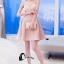 ชุดเดรสเกาหลีพร้อมส่ง Sweet Pinky Sensual Dress thumbnail 4