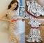 ชุดเดรสเกาหลีพร้อมส่ง เดรสผ้าเครปสีเบจปักลายดอกไม้สีสดใส thumbnail 6