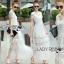 ชุดเดรสเกาหลี พร้อมส่งเดรสยาวผ้าลูกไม้สีขาวตัดต่อผ้าทูลล์สุดคลาสสิก thumbnail 8