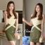 ชุดเดรสเกาหลี พร้อมส่ง มินิเดรส สีเขียวทูโทน แขนกุด คอวี thumbnail 5