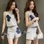 เสื้อผ้าเกาหลี พร้อมส่ง เซ็ตเสื้อแขนสั้น+กางเกงสีเทา thumbnail 7