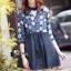 ชุดเดรสเกาหลีพร้อมส่ง Mira Lace Denim Cuite Dress thumbnail 1