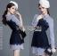 เสื้อผ้าเกาหลี พร้อมส่งเชิ้ตเดรสผ้าป็อบลินคอตตอนลายทางตกแต่งลูกไม้สีน้ำเงิน thumbnail 3