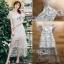 ชุดเดรสเกาหลี พร้อมส่งเดรสผ้าลูกไม้สีขาวปักลายดอกไม้สีหวาน thumbnail 13