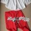 เสื้อผ้าเกาหลี พร้อมส่ง เซ็ตเสื้อ-กางเกงขายาวทรงสกินนี่สีเเดง red rouge thumbnail 4