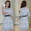 ชุดเดรสเกาหลี พร้อมส่งเดรสผ้าชีฟองสีขาวปักลายดอกไม้สีดำ thumbnail 14