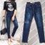 เสื้อผ้าแฟชั่นพร้อมส่ง กางเกงยีนส์ขายาว ดีไซร้เรียบๆแต่งตอกหมุดช่วงปลายขา thumbnail 2