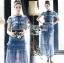 ชุดเดรสเกาหลี พร้อมส่งเดรสผ้าลูกไม้สีฟ้าตกแต่งโบสไตล์ Self-Portrait thumbnail 18
