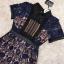 ชุดเดรสเกาหลี พร้อมส่งlong dress ฉลุสีกรม แขนสั้นซับในเย็บติดสีเนื้อช่วงอกยาวเหนือหัวเข่า thumbnail 11