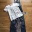 เสื้อผ้าเกาหลีพร้อมส่ง เซ็ตเสื้อยืดสีขาวทับด้วยเอี๊ยมเดรมิตกแต่งลูกไม้ปักเลื่อม thumbnail 14