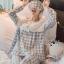 เสื้อผ้าเกาหลี พร้อมส่งเซ็ตชุดนอนผ้าคอตตอนลายตารางสีพาสเทล thumbnail 9