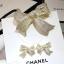 พร้อมส่ง Ribbon Brooch &Earring เข็มกลัด/ต่างหู ชาแนล โบว์ มี logo งานขายดีมาก ฝังCZแท้ thumbnail 3