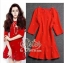 เสื้อผ้าเกาหลี พร้อมส่ง เดรสสั้นสีแดงสด แต่งประดับมุกรอบตัว ชายกระโปรงระบายบาน thumbnail 1