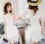 ชดเดรสเกาหลี พร้อมส่งเดรสสีขาวปักลายดอกไม้กระโปรงระบาย thumbnail 3