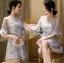 ชุดเดรสเกาหลีพร้อมส่ง ค็อกเทลเดรสผ้าทูลเลปักเลื่อมและพู่ขนนก thumbnail 5