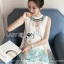 ชุดเดรสเกาหลี พร้อมส่งเดรสแขนกุดผ้าลูกไม้สกีลลายยีราฟสไตล์เฟมินีน thumbnail 7