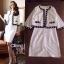 เสื้อผ้าเกาหลี พร้อมส่ง เซ็ตเสื้อคลุมโทนสีขาวตัวสั้นตัดแต่งขอบสีดำ thumbnail 10