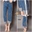 เสื้อผ้าสเกาหลีพร้อมส่ง กางเกงยีนส์ทรงกระบอก ผ้ายีนส์ฮ่องกง thumbnail 4