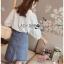 เสื้อผ้าเกาหลีพร้อมส่ง เสื้อผ้าคอตตอนสีขาวปักและฉลุลายสไตล์วินเทจ thumbnail 3