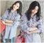 เสื้อผ้าเกาหลี พร้อมส่งเชิ้ตลายทางสีฟ้าปักลายดอกไม้ thumbnail 2