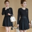 ชุดเดรสเกาหลี พร้อมส่ง Mini dress ทางเรียบร้อยสีดำ ดูดีมาก thumbnail 8