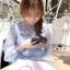 ชุดเดรสเกาหลี พร้อมส่งเดรสผ้าซิลค์ตกแต่งออร์แกนซ่าและลูกไม้สีฟ้าอ่อน thumbnail 7