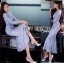 ชุดเดรสเกาหลี พร้อมส่งเดรสผ้าลูกไม้สีฟ้าไลแล็กทรงเมอร์เมด thumbnail 5