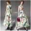 ชุดเดรสเกาหลี พร้อมส่งเดรสยาวผ้าซาตินพิมพ์และปักลายดอกไม้ thumbnail 5