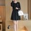ชุดเดรสเกาหลี พร้อมส่ง Mini dress ทางเรียบร้อยสีดำ ดูดีมาก thumbnail 3