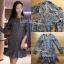 ชุดเดรสเกาหลี พร้อมส่งเดรสผ้าลูกไม้สีฟ้าตกแต่งชายระบาย thumbnail 6