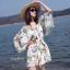 เสื้อผ้าเกาหลีพร้อมส่ง จั๊มสูท ทรงสวย คอวี แขนยาว พิมพ์ลายดอกไม้ thumbnail 1