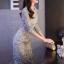 ชุดเดรสเกาหลี พร้อมส่งชุดLong dress ลูกไม้สีเทาเรียบหรู thumbnail 3