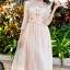 ชุดเดรสเกาหลี พร้อมส่งLong dress สีชมพูโอรส แขน 5 ส่วน thumbnail 6