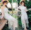ชุดเดรสเกาหลี พร้อมส่งเดรสผ้าลูกไม้สีขาวปักลายดอกไม้สีหวาน thumbnail 12