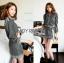 เสื้อผ้าเกาหลี พร้อมส่งเซ็ตเสื้อและกระโปรงลายดอกไม้จุดสีขาวดำสไตล์โบฮีเมียน thumbnail 9