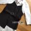 เสื้อผ้าเกาหลี พร้อมส่งเชิ้ตเดรสผ้าคอตตอนสีขาวทับด้วยสายเดี่ยวสีดำลายทาง thumbnail 8