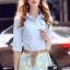 เสื้อผ้าเกาหลี พร้อมส่งAzura Skyblue Shirt + Embroidered Luxury Skirt thumbnail 6