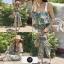 เสื้อผ้าเกาหลีพร้อมส่ง จั้มสูทลายดอก ระบายช่วงอก thumbnail 4