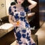 เสื้อผ้าเกาหลี พร้อมส่งPinkyPeach Dress Navy Flora thumbnail 4