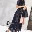 ชุดเดรสเกาหลี พร้อมส่งlong dress ฉลุสีกรม แขนสั้นซับในเย็บติดสีเนื้อช่วงอกยาวเหนือหัวเข่า thumbnail 2