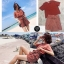 เสื้อผ้าแฟชั่นเกาหลีพร้อมส่ง เซตเสื้อ คอวี + กางเกงเอวสูงลายทาง thumbnail 1