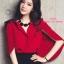 เสื้อผ้าเกาหลี พร้อมส่ง เสื้อสีแดง ทรงแขนค้างคาวกับกระโปรงเอวสูง thumbnail 5