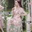 ชุดเดรสแฟชั่น พร้อมส่งเดรสผ้าทูลเลปักดอกไม้กุหลาบสีชมพูทับลูกไม้สีชมพู thumbnail 6