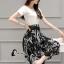 เสื้อผ้าเกาหลี พร้อมส่ง Zara White Top + Black Tiger Line Set thumbnail 6
